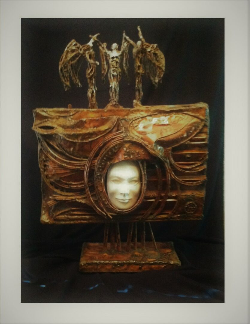 "ANGELS OF HAGIA SOPHIA<br>Copper Sculpture and Concrete Face<br>10"" deep 25"" wide, 35"" high"